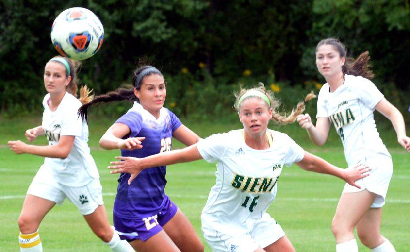 Siena's Hanna Longendyke observes a pass in September. Ballston Spa's Caitlin Wania is set to join the Saints