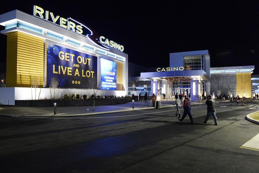 Rivers Casino & Resort is seen on its opening night -- Feb. 8, 2017.