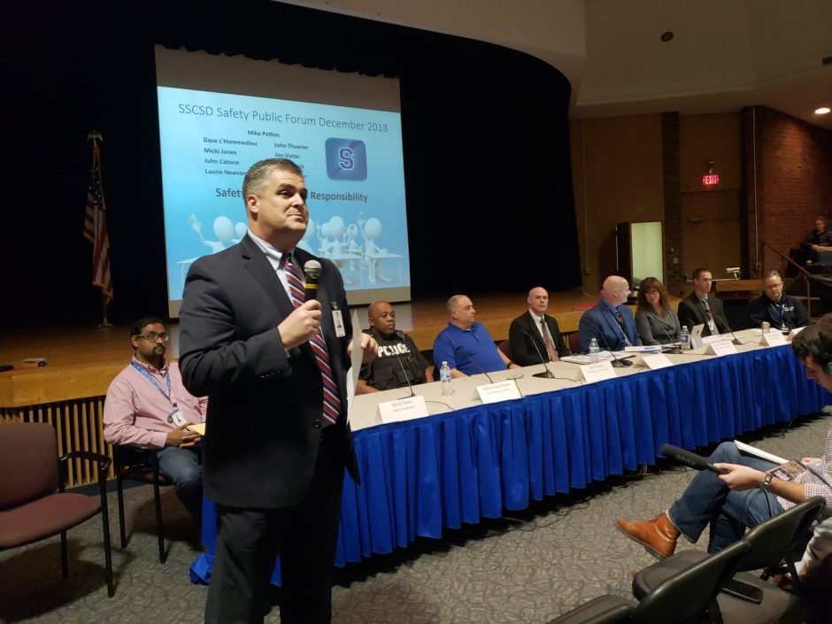 Saratoga Springs School Superintendent Michael Patton introduces a panel discussion on school safety.