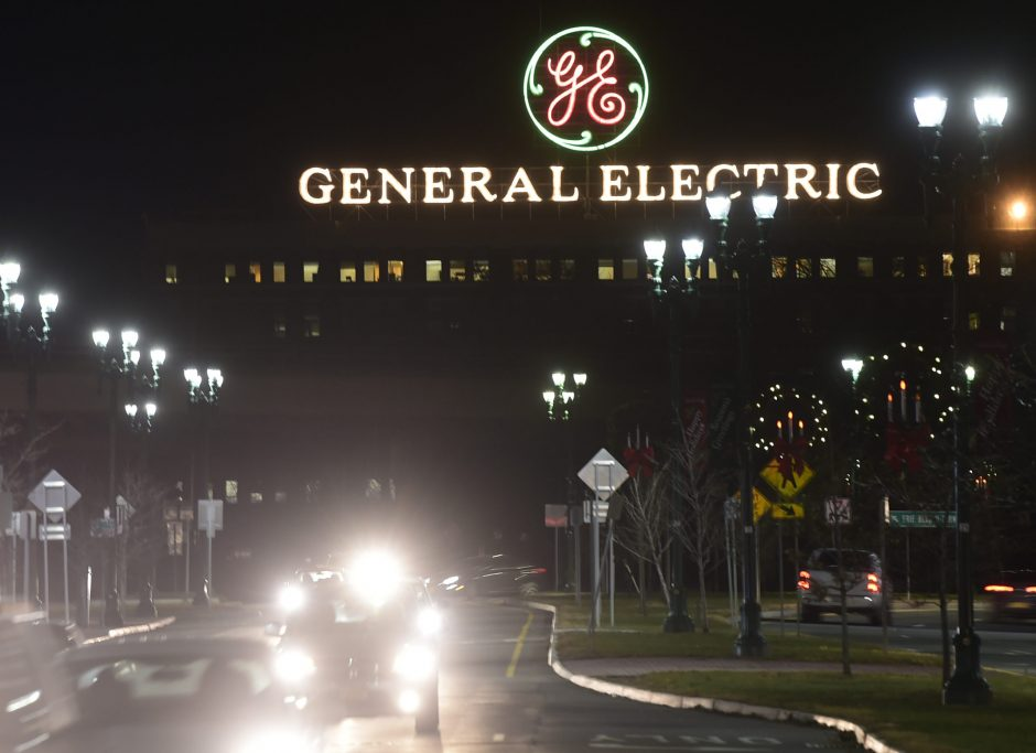 The iconic General Electric sign hovers over Erie Boulevard in Schenectady on Dec. 6, 2018.