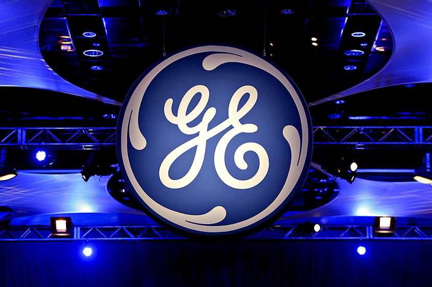 The General Electric logo at the company's 2010 annual meeting in Houston.