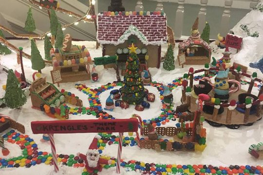 The Coburg Village culinary staff's creation for annual gingerbread display.