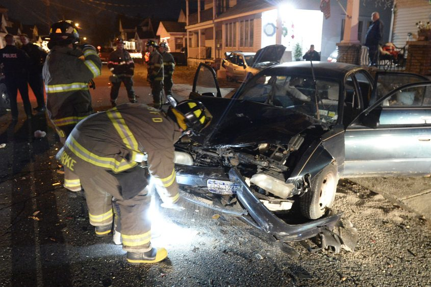 The stolen car crashed on Santa Fe Street Wednesday evening
