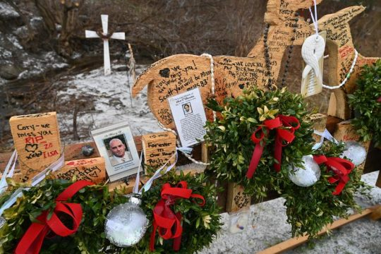 A memorial to the 20 victims of the deadly October stretch limousine crash in Schoharie is seen on Dec. 16.
