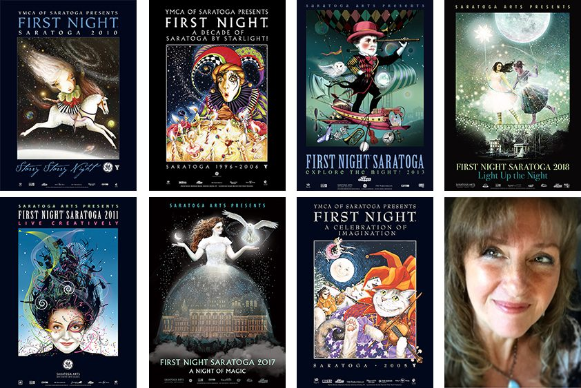 Sharon Bolton is pictured with some of the Saratoga First Night Posters she has designed over the past two decades.