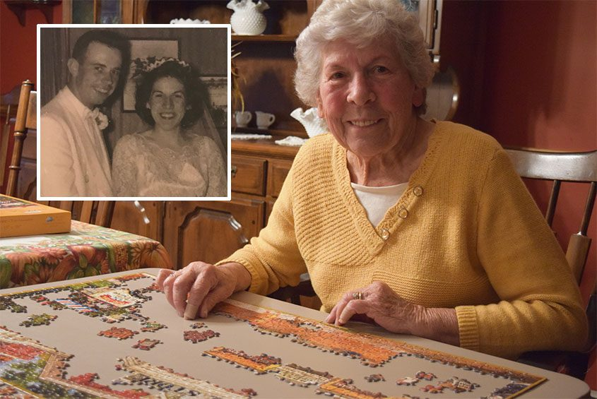 Shirley Bold works on a jigsaw puzzle at her Halfmoon home. Inset: Jim and Shirley on their wedding day.