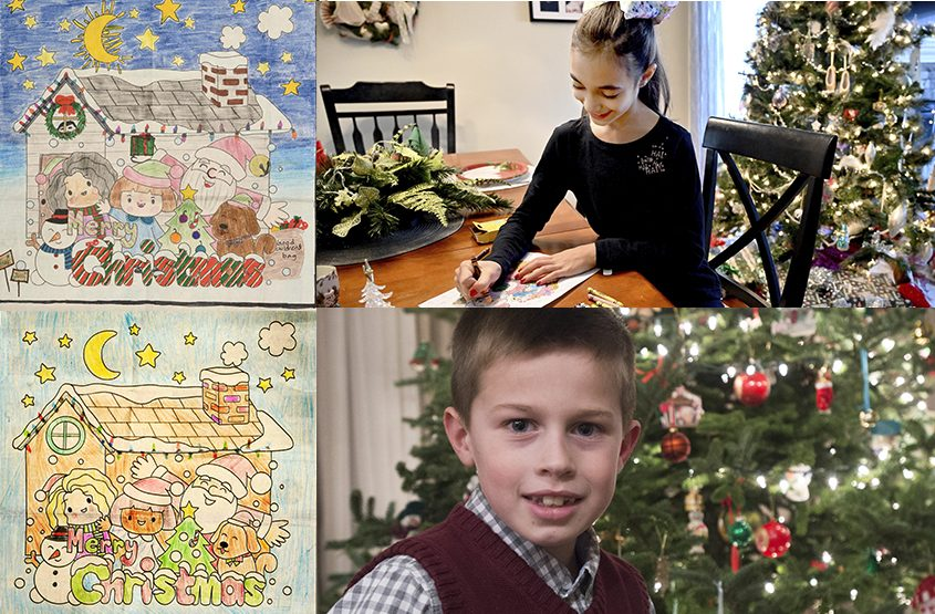 Zoe Ronda of Stillwater and Brendan Neely of Niskayuna with their winning entries in The Gazette Christmas Coloring Contest.