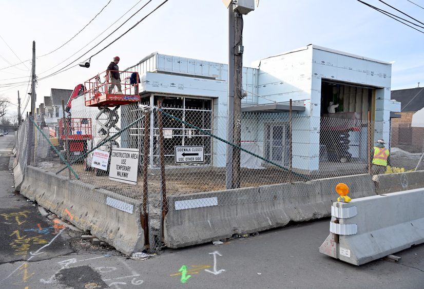 Construction continues on the Mont Pleasant Library at the corner of Crane and Sixth streets on Thursday.