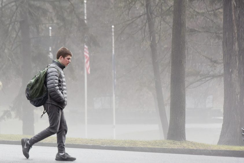 Foggy and rainy afternoon as people walk through Congress Park in Saratoga Springs on Friday.