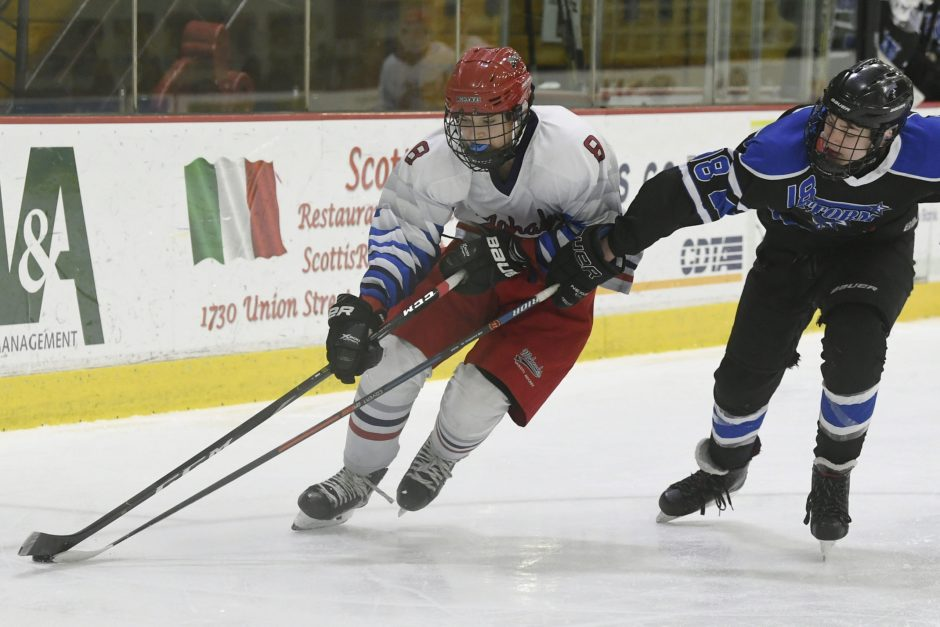 The Mohawk's Theo Angelopoulos is stickchecked by the Storm's Cameron Gagnon during Saturday's CDHSHL game at Messa Rink.