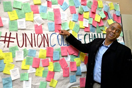 Union College President David Robert Harris at the Challenge board in Reamer Campus Center.