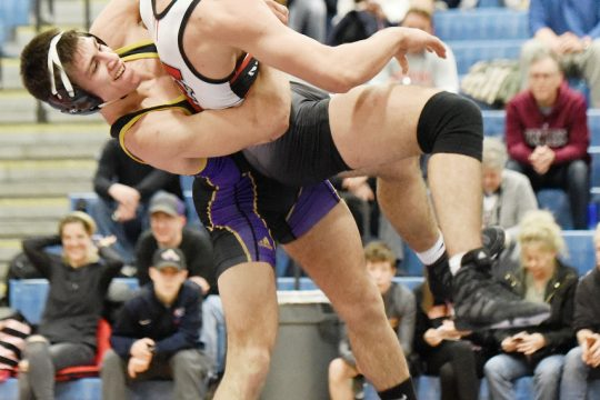 Charlie Grygas of Duanesburg throws Peter Meshkov of Niskayuna in a 160-pound match at The Coach Bena Schenectady County Duals.