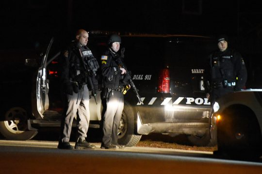 Police responded Sunday evening to a report of a man with a gun in a home threatening harm to himself in the Geyser Crest area