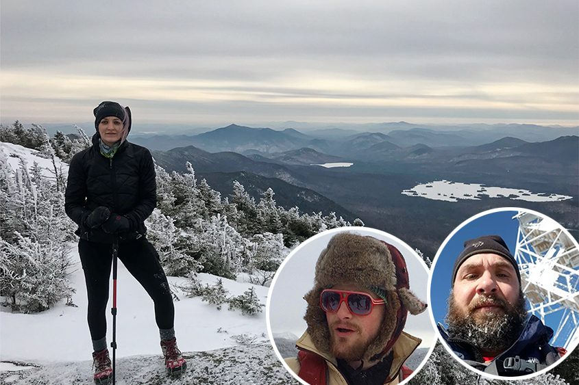 Mary Zawacki stands near the top of Dix Mountain last week; inset: Dustin Wright, left, and Adam Nichols.