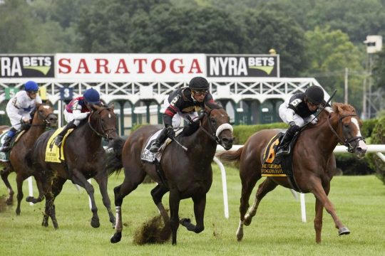 Voodoo Song and Jose Lezcano, right, beat Delta Prince (Javier Castellano) by a neck in the Fourstardave at Saratoga in August