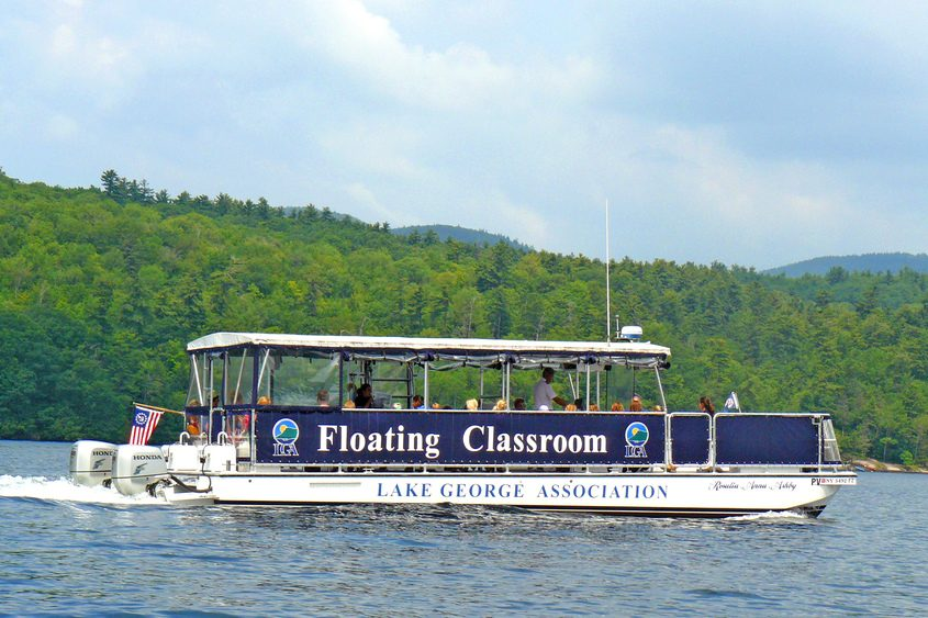 The Lake George Association's Floating Classroom, a 40-foot catamaran used to teach passengers about the ecology of Lake George.
