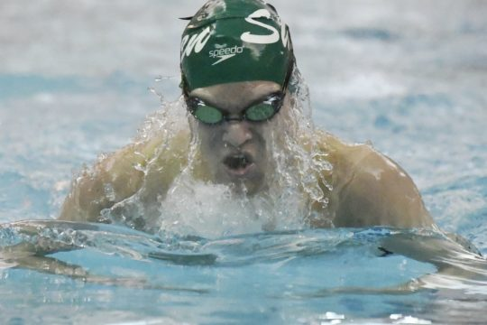 Shenendehowa senior Jackson Homan drives for a win in the 200 IM in a meet with Niskayuna last week.