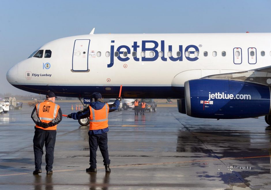 A JetBlue plane at the Albany International Airport in 2015