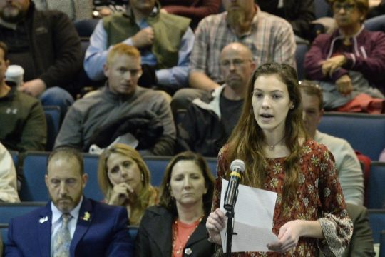 Meg Messitt, 15, addresses the Saratoga Springs school board on school safety.