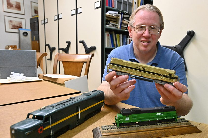 Chris Hunter, curator at MiSci -- Museum of Innovation & Science with a few model ALCO engines that were built in Schenectady.