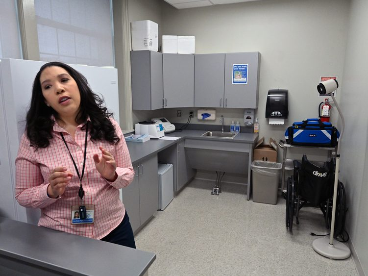 Nurse practitioner Ashley Kennedy talks about the Hometown Heath clinics at Mont Pleasant Middle and Schenectady High schools.