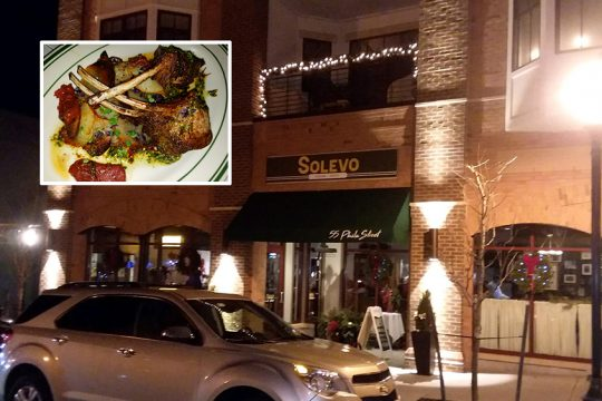The exterior of Solevo Kitchen & Social; inset: rack of lamb with roasted potatoes and tomatoes.