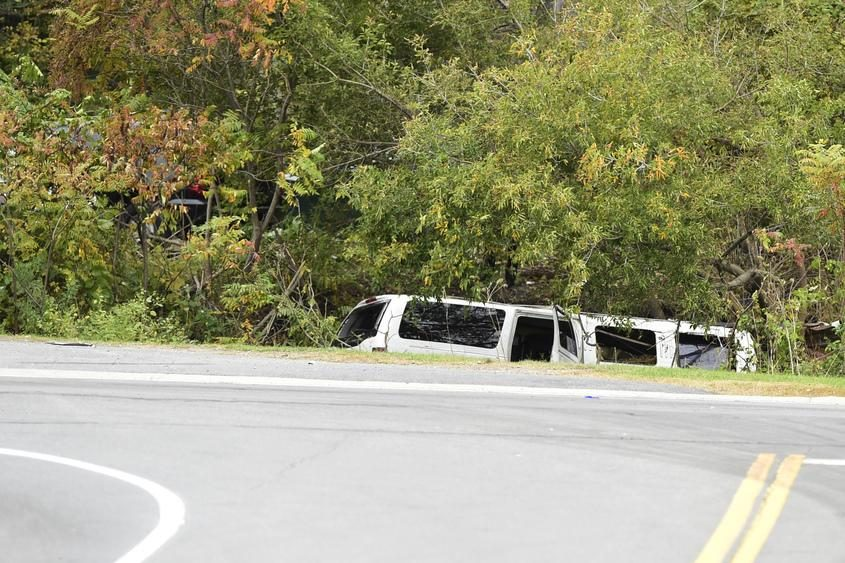 The top of a stretch limousine that crashed in Schoharie can be seen.