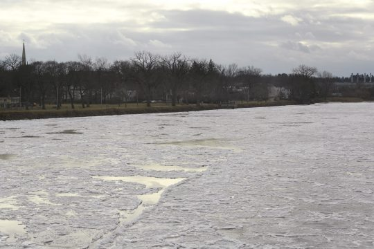 Ice begins to form on the Mohawk River as seen from the Scotia side Wednesday.