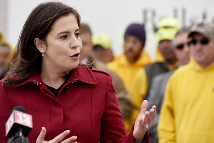 U.S. Rep. Elise Stefanik speaks during a press conference in Ballston Spa last year.