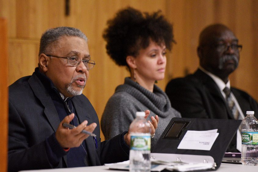 Randy McGough, MLK Coalition chairman, speaks during a Face of Economic Justice forum on Thursday.