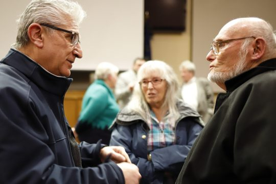State Sen. James Tedisco, R-Glenville, left, speaks with Bonnie and Ken Benson of Charlton during a meeting in Albany on Monday.