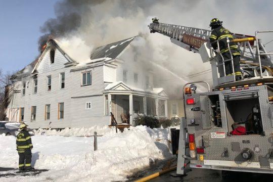 The fire scene on Church Street Tuesday