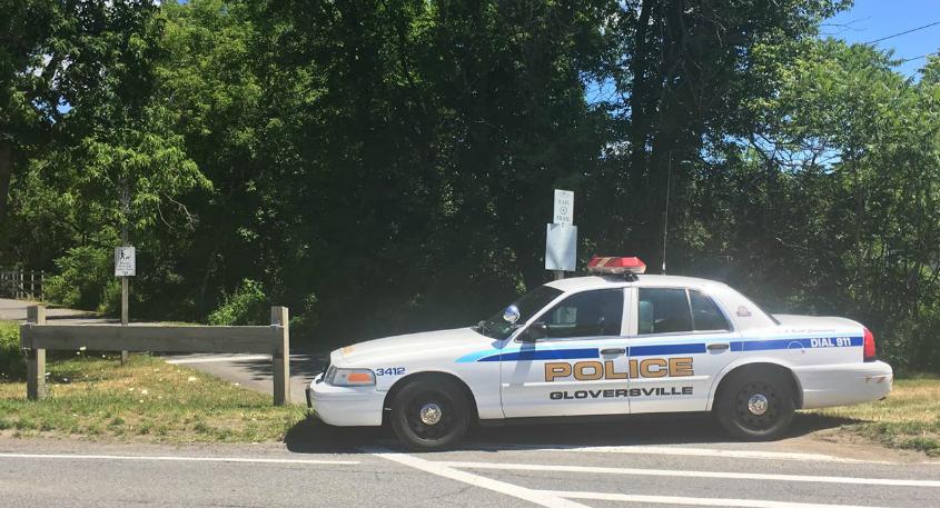 A Gloversville police car near the scene in July