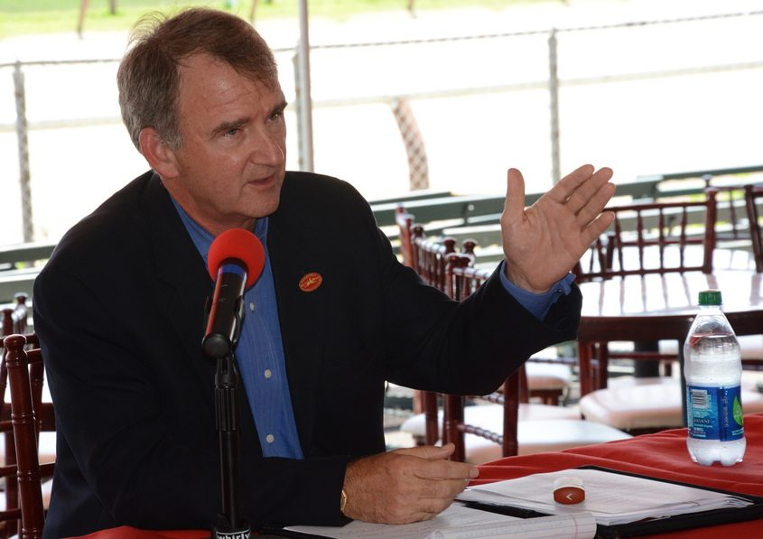 NYRA President and CEO Chris Kay holds a press conference in July of 2013 at the Saratoga Race Course.
