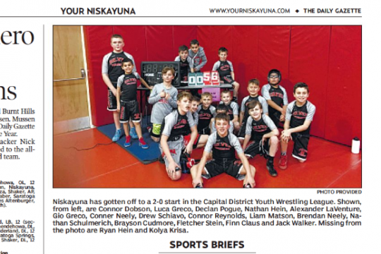 Niskayuna has gotten off to a 2-0 start in the Capital District Youth Wrestling League.