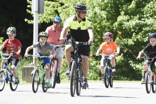 Cyclists are seen along the Erie Canalway/ Hudson-Mohawk Bike Hike Trail in Schenectady in 2015.