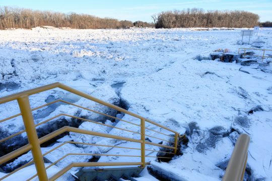 Ice build up is seen at Lock 8E on the Mohawk River in Rotterdam on Monday.