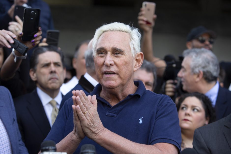 Roger Stone speaks to members of the media outside federal court in Fort Lauderdale, Florida, on Friday.