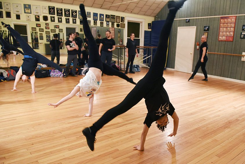 The Diavolo Dance Company holds an open class at Merritt Dance Center in Schenectady on Monday.