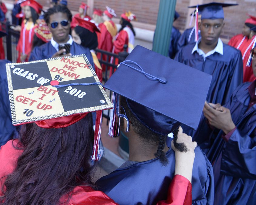 Schenectady High School graduates have their picture taken on June 22, 2018.