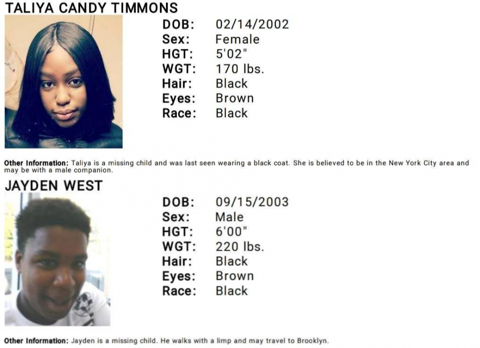 Portions of the two separate fliers for Taliya Candy Timmons and Jayden West