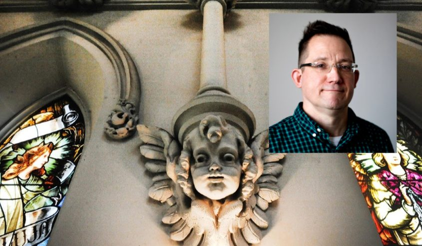Michael Matvey, new editor of The Evangelist; Background: An angel at St. John the Evangelist in Schenectady