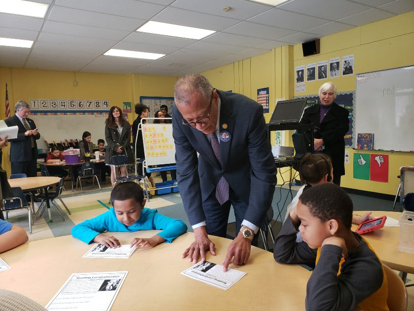 State Sen. Robert Jackson visits a class at Pleasant Valley Elementary School in Schenectady on Monday to kick off a statewide t