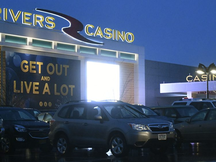 Plenty of vehicles are parked outside the Rivers Casino & Resort in Schenectady the evening of Wednesday, Feb. 6.