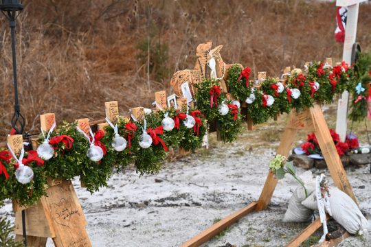 The Schoharie limo accident memorial site on Route 30A is seen in December.