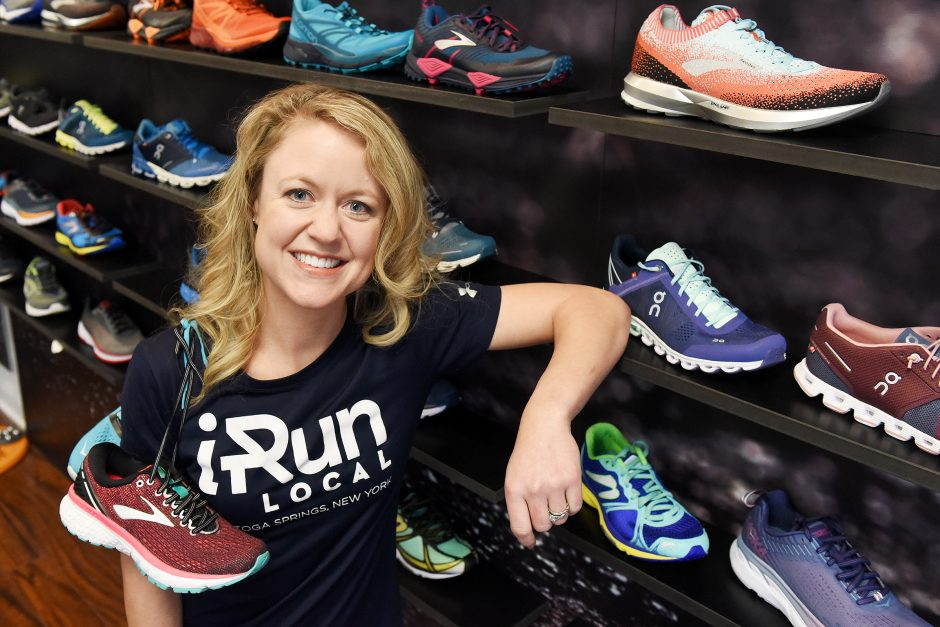 Jamie Mastroianni, owner, of iRun Local at their new location on Broadway in Saratoga Springs on Thursday, December 20, 2018.