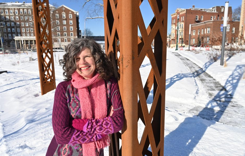 Mary Moore Wallinger in Gateway Park, one of her design projects, in Schenectady.