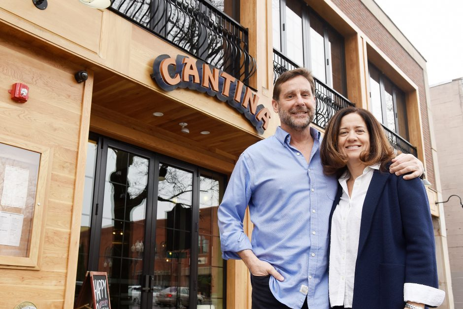 Cantina Restaurant owners Jeff and Heath Ames inside their restaurant on Broadway in Saratoga Springs, February 7, 2019.