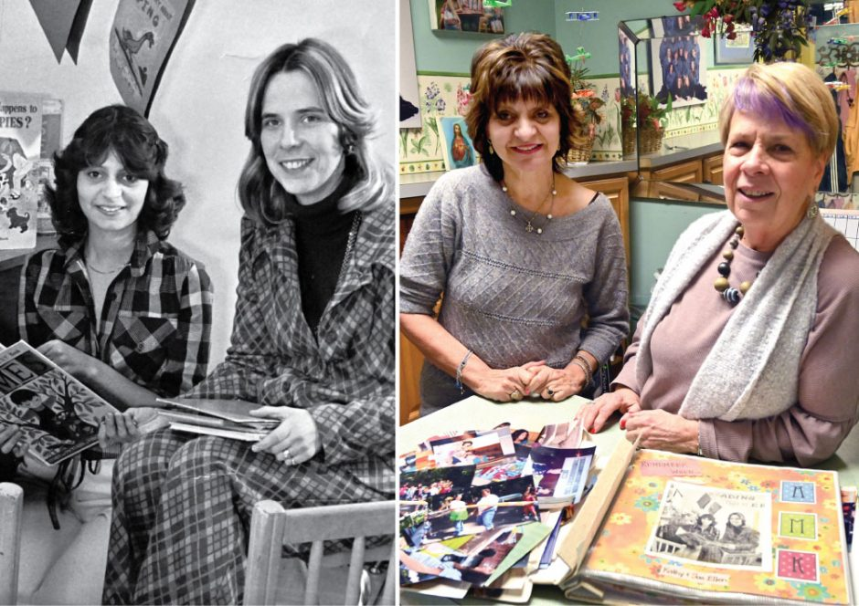 Kathy Papa and Sue Ellen DeWeesein in 1979, left, and present day, right.