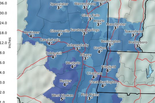 Forecast snowfall totals, according to the National Weather Service
